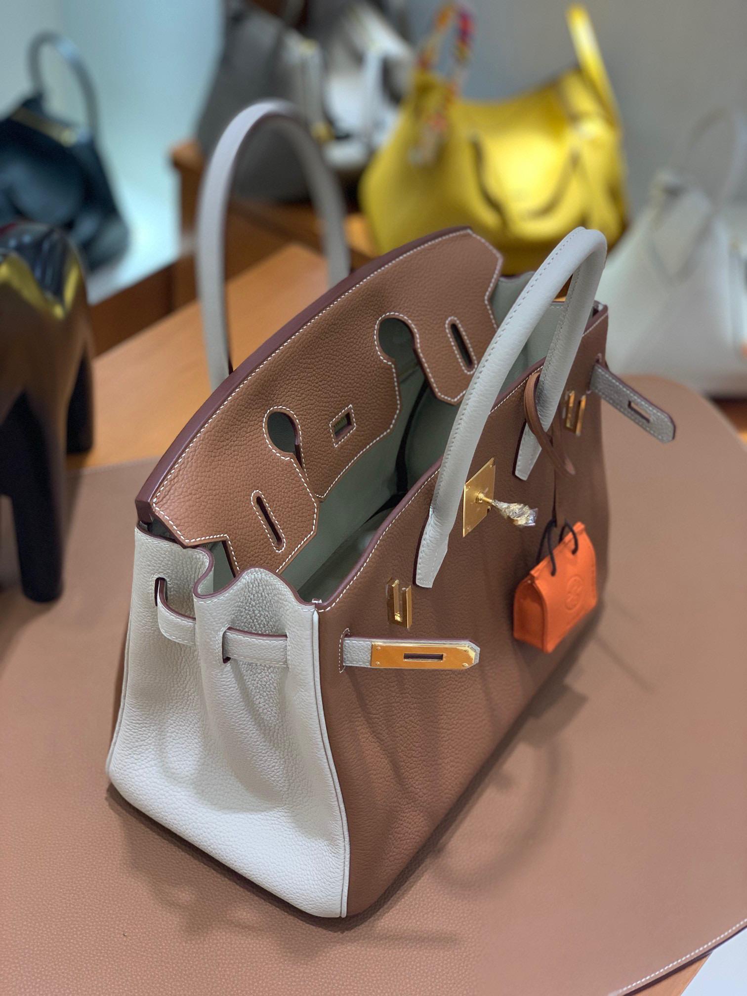 Hermes Birkin 铂金包 30CM  Togo 金棕色 拼 奶昔白 全手工