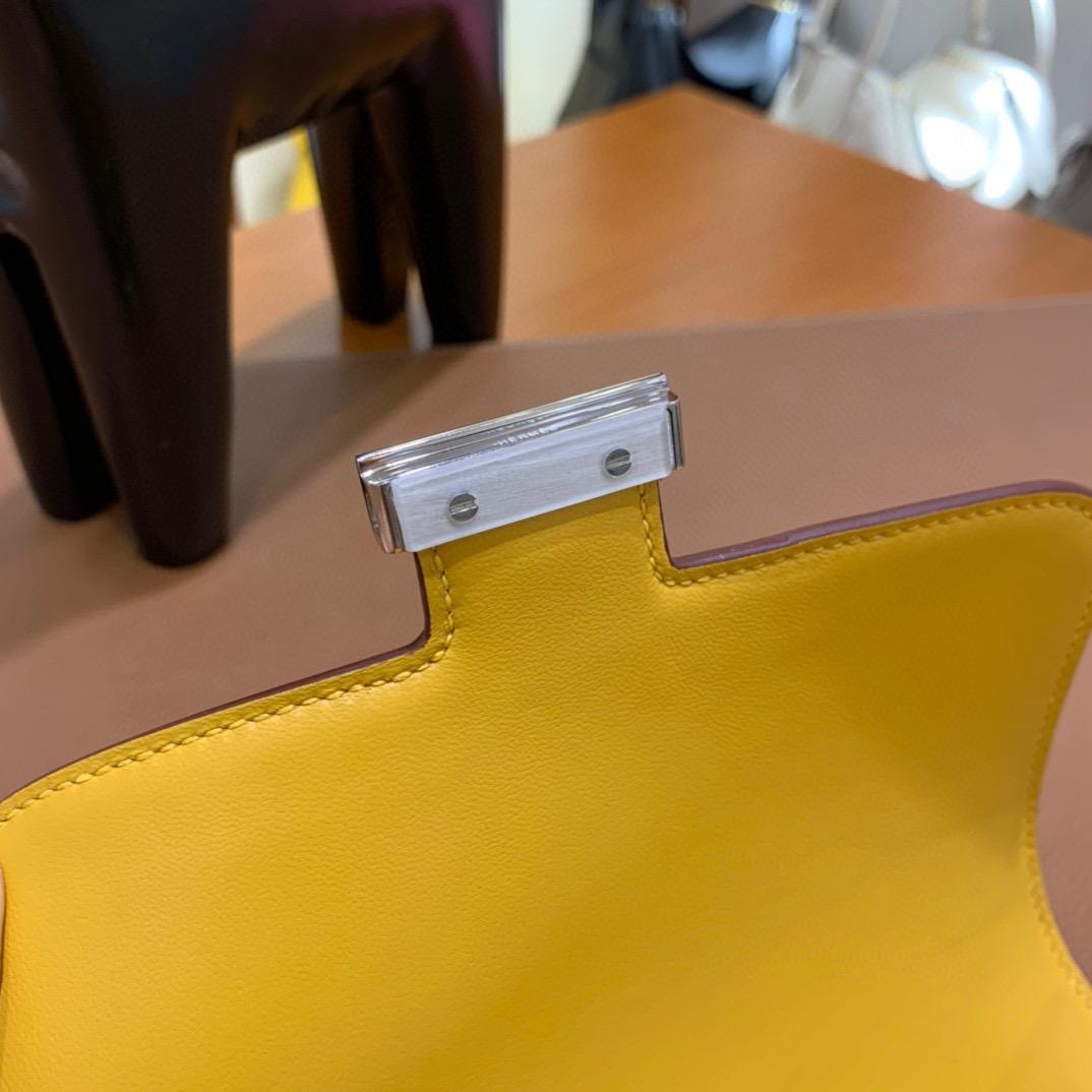 Hermes Constance 19CM 空姐包  Epsom 9D琥珀黄 金扣 全手工定制