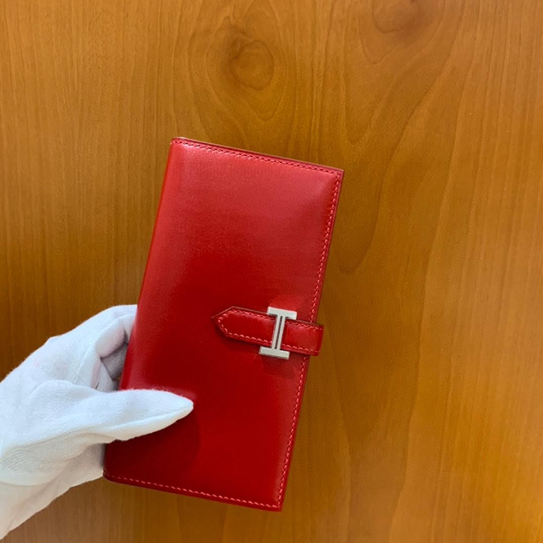 爱马仕 Hermes Bearn 西装夹 钱包 BOX皮  国旗红 银扣