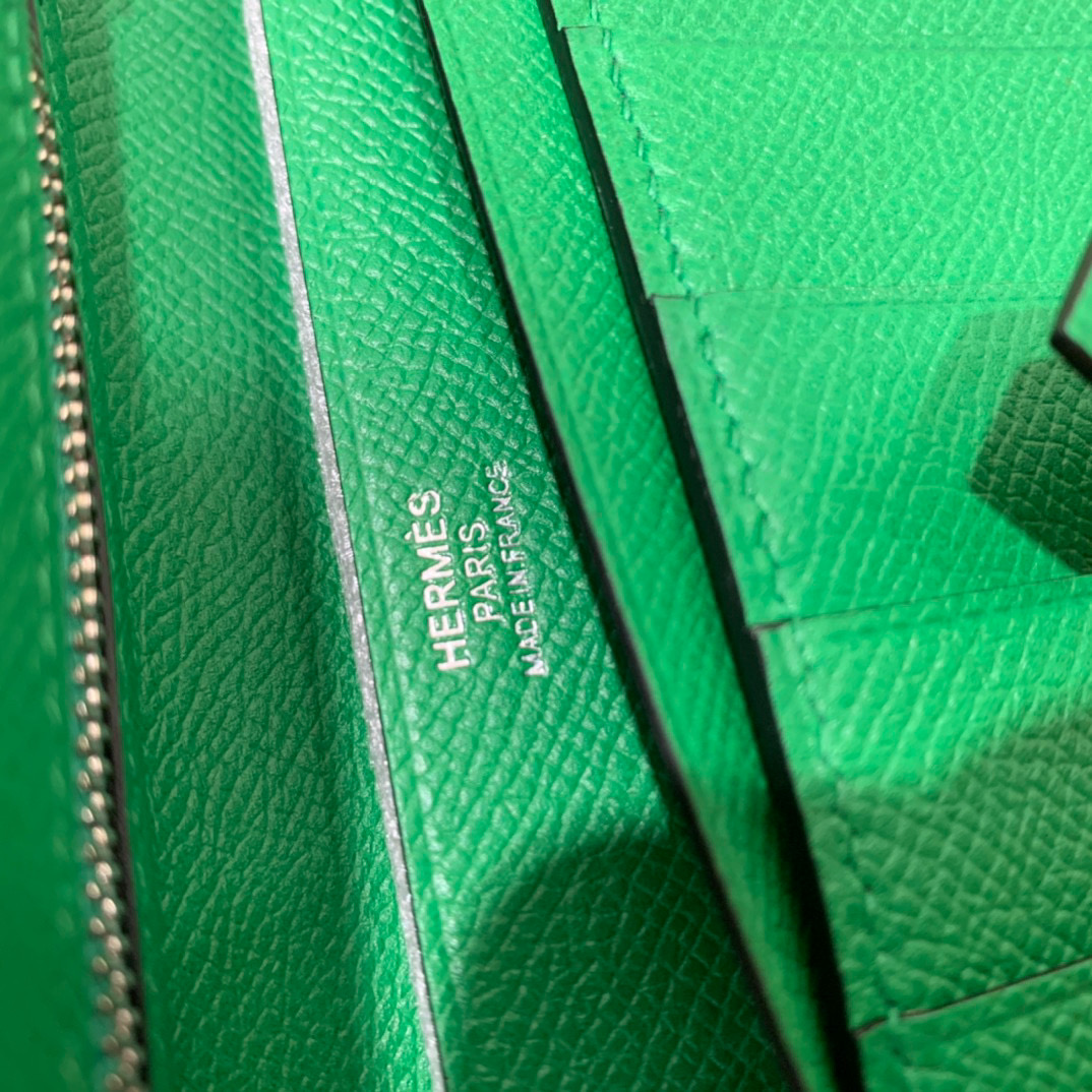 爱马仕 Hermes Bearn 西装夹 钱包 Epsom皮  竹子绿 银扣
