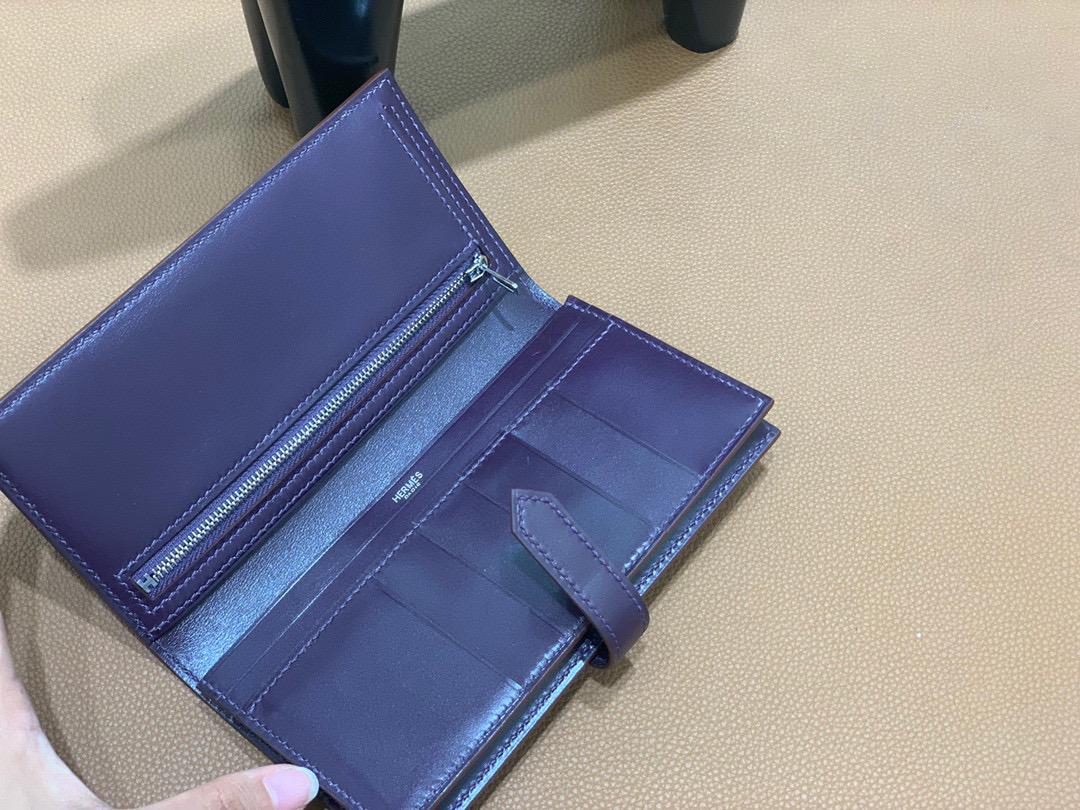 爱马仕 Hermes Bearn 西装夹 钱包 BOX皮  加多仑紫  银扣