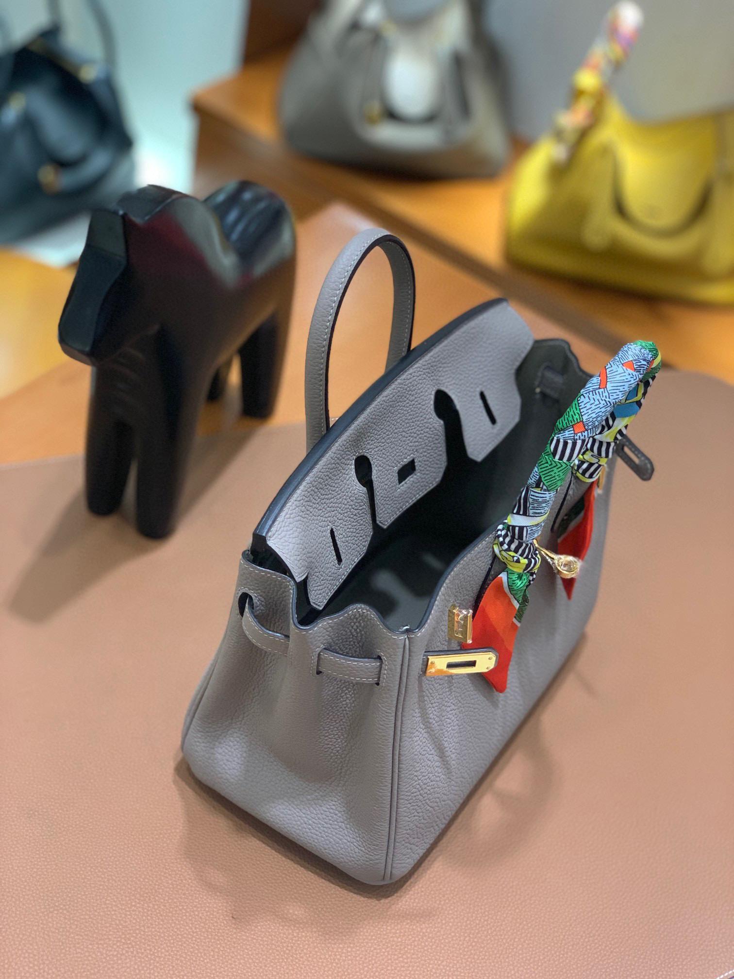 爱马仕 Hermes 铂金包 Birkin 25CM 全手工  沥青灰 金扣