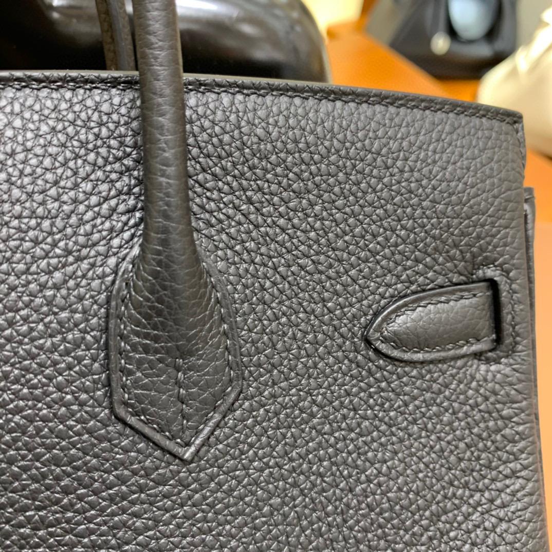 爱马仕 Hermes 铂金包 Birkin 25CM Togo皮 全手工 黑色 银扣