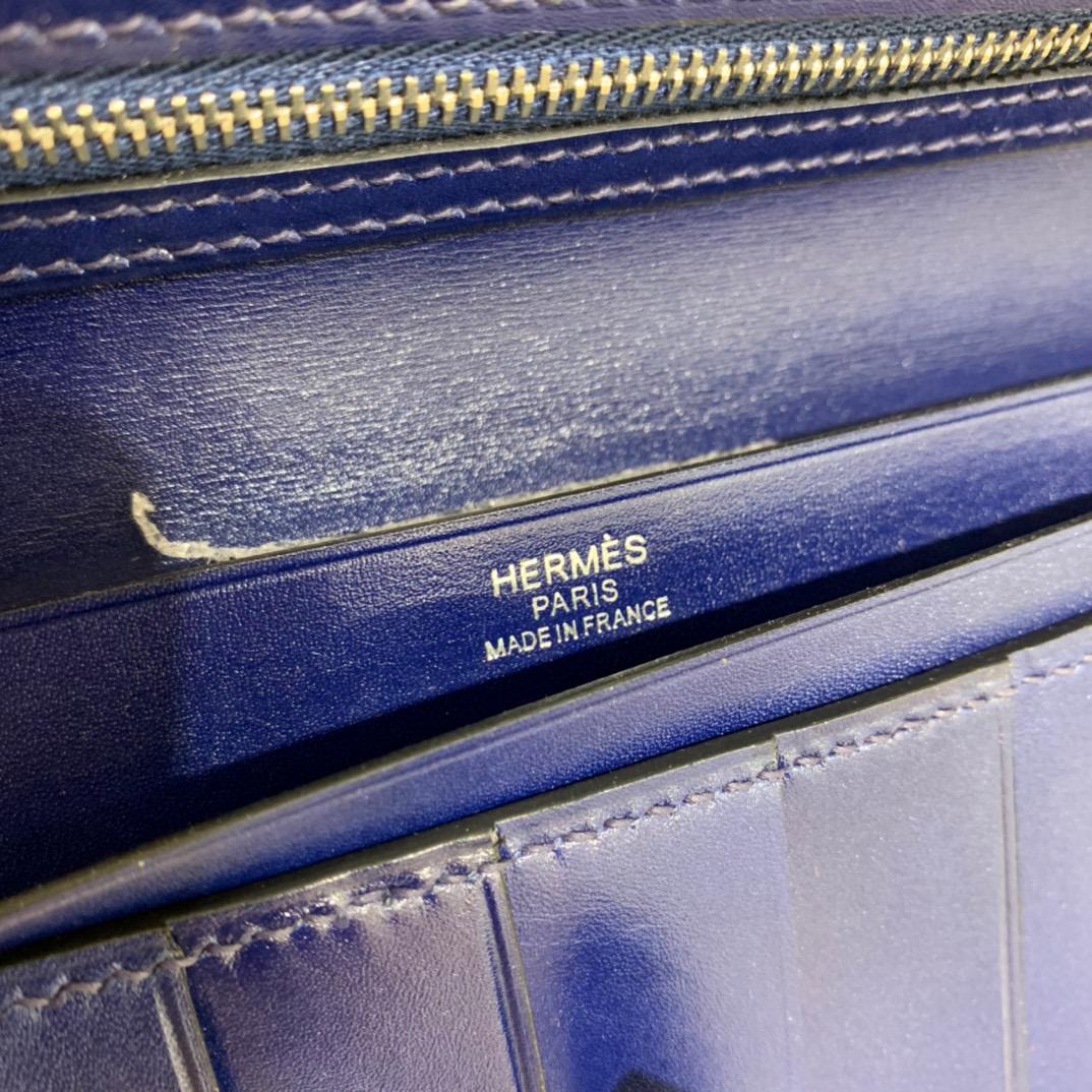 爱马仕 Hermes Bearn 西装夹 钱包 BOX皮  宝石蓝 银扣