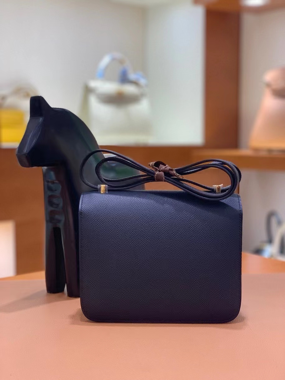 Hermès(爱马仕)Constance 空姐包 epsom 黑色 金扣 19cm 现货