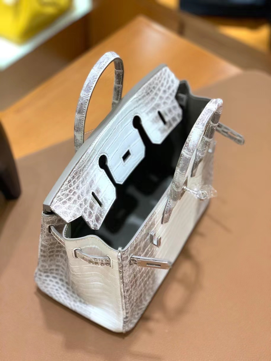 Hermès(爱马仕)Birkin 铂金包 鳄鱼皮 喜马拉雅 银扣 25cm 现货