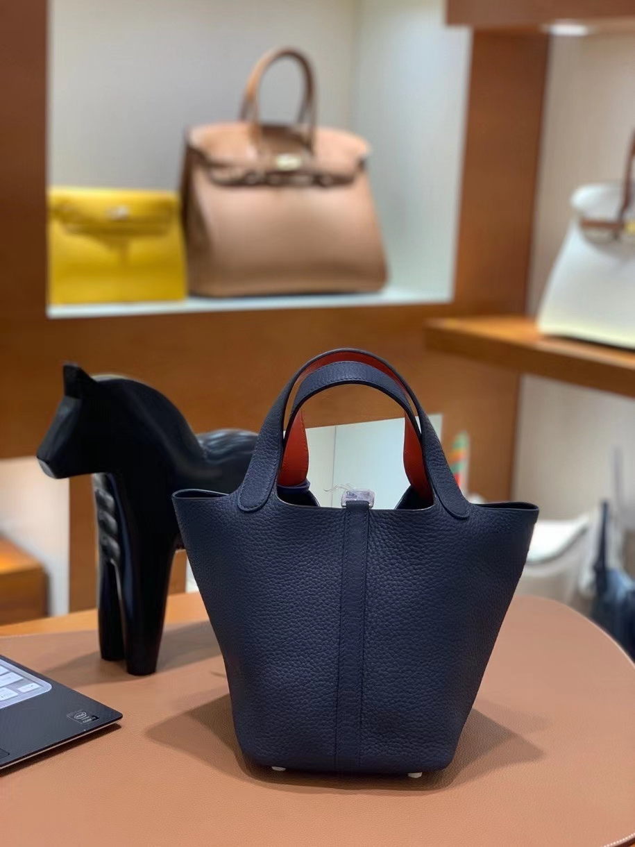Hermès(爱马仕)Picotin 菜篮子 swift 拼 TC皮 午夜蓝 拼 罂粟橘 18cm 银扣 现货