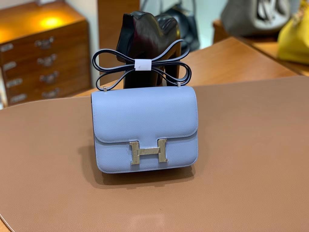 Hermès(爱马仕)Constance 空姐包 epsom 亚麻蓝 19cm 银扣 现货