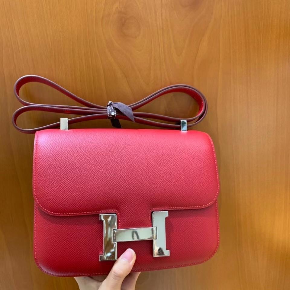 Hermès(爱马仕)Constance 空姐包 epsom 国旗红 银扣 24cm 现货