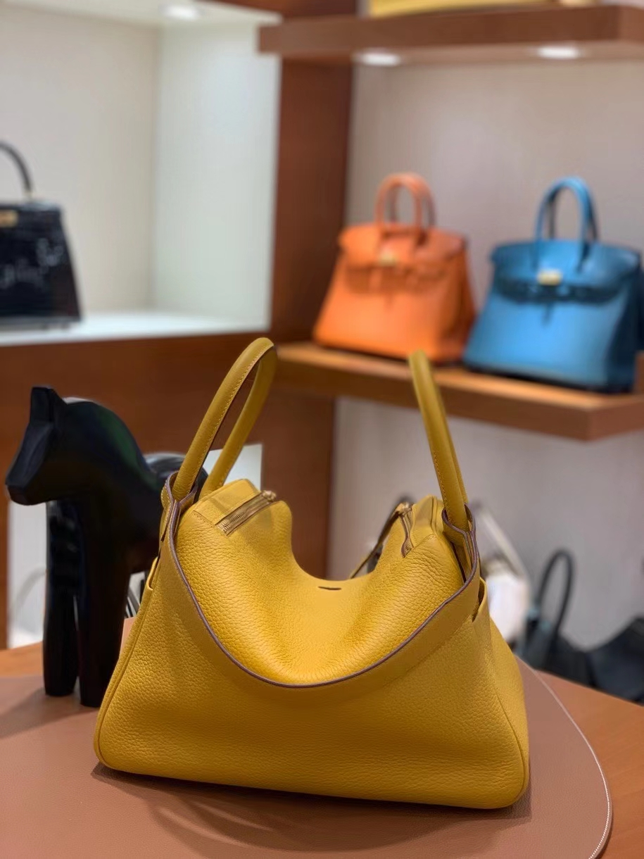 Hermès(爱马仕)TC 9D 琥珀黄 Lindy 30 金扣