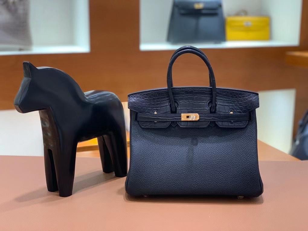 Hermès(爱马仕)Birkin 铂金包 Togo拼鳄鱼皮 黑色 金扣 25cm