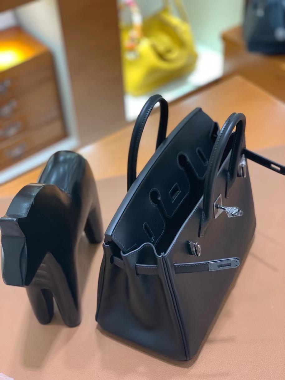 Hermès(爱马仕)Birkin 铂金包 Box皮 黑色 黑扣 25cm