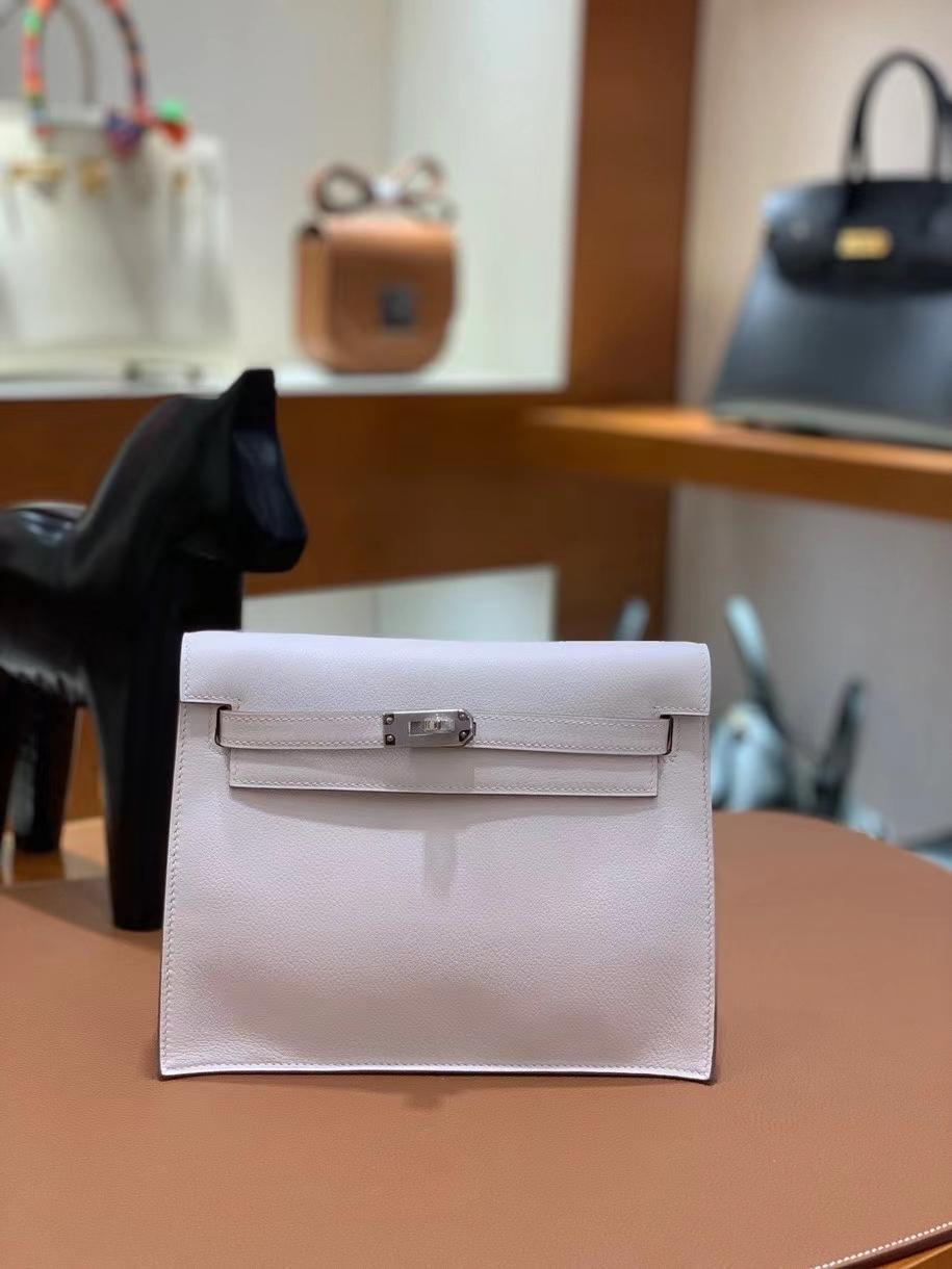 Hermès(爱马仕)Kelly danse evercolor 8L奶油白 22cm 银扣 现货