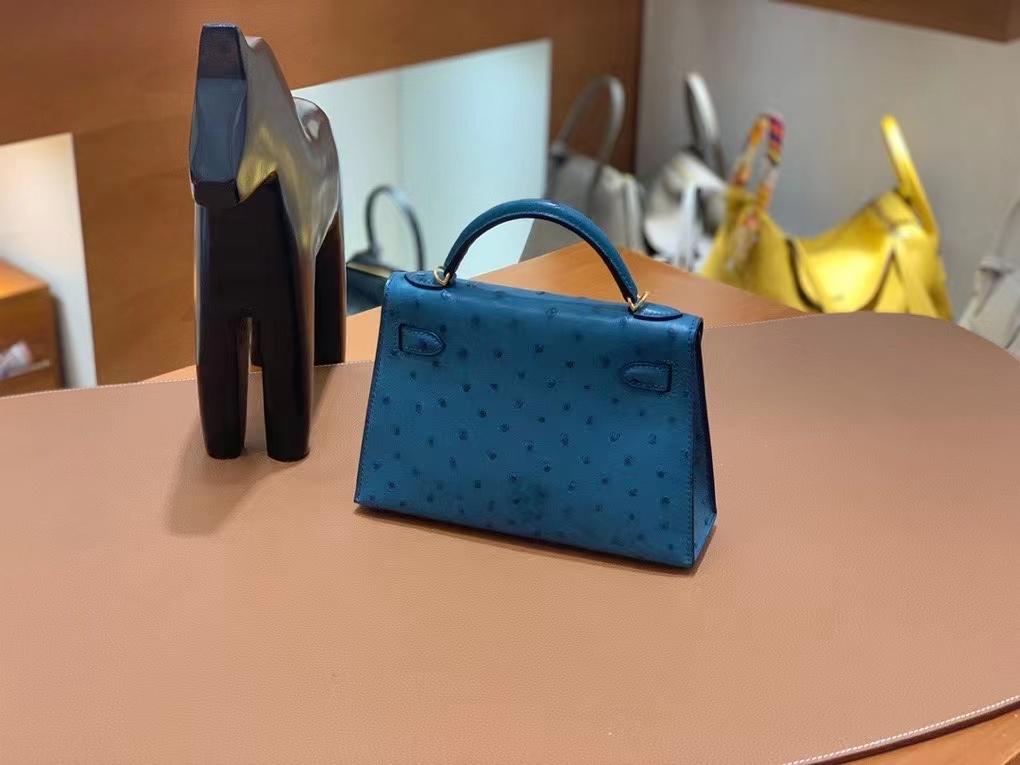 Hermès(爱马仕)鸵鸟 鸭子蓝 minikelly 19cm 金扣 现货