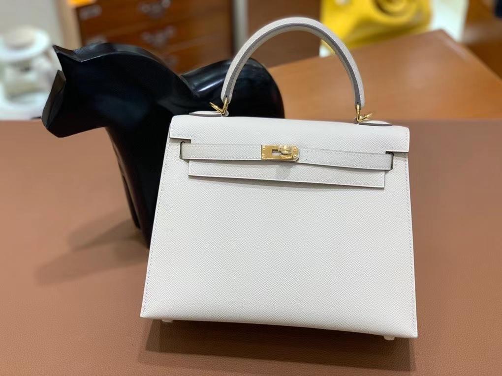 Hermès(爱马仕)Kelly 凯莉包 Epsom 奶昔白 金扣 25cm