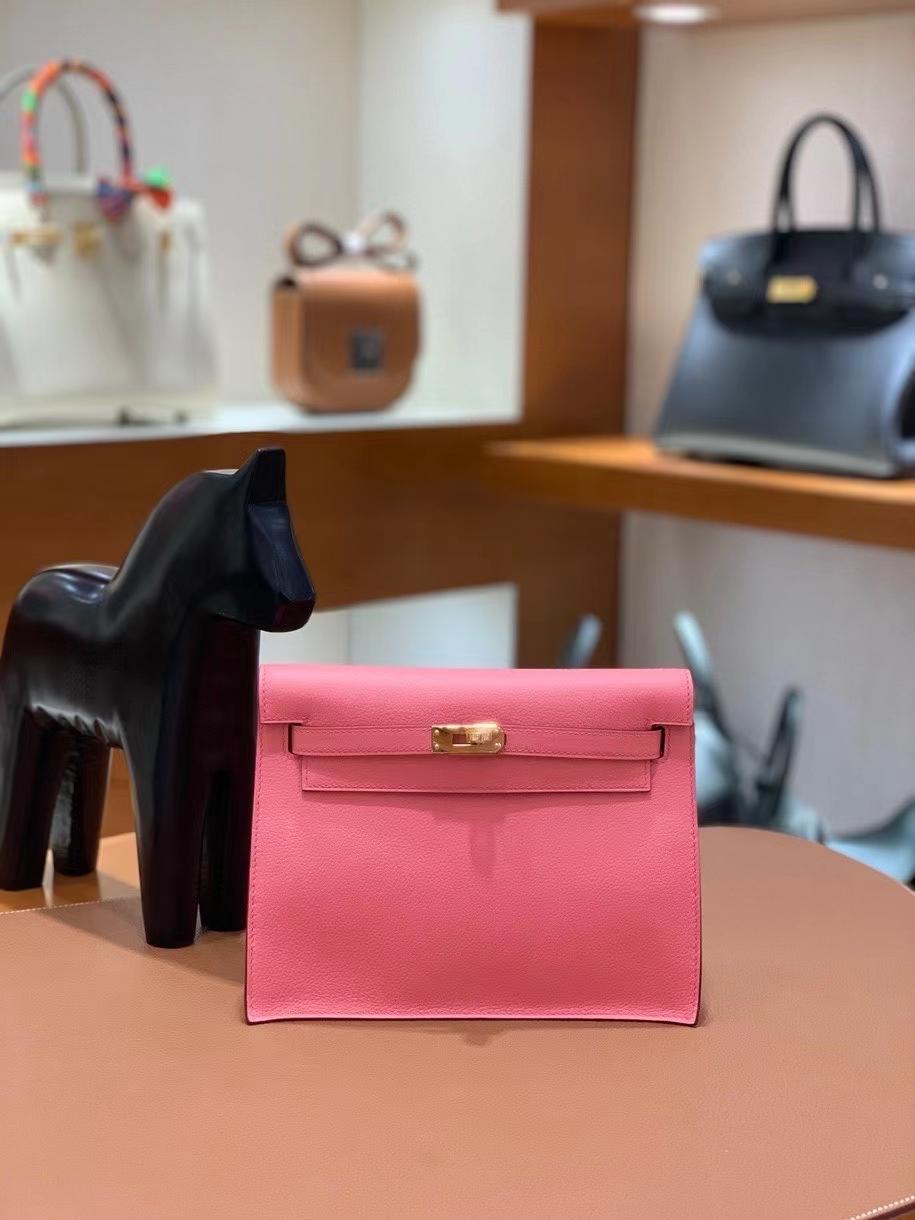 Hermès(爱马仕)Kelly danse evercolor K4夏日粉 22cm 金扣 现货