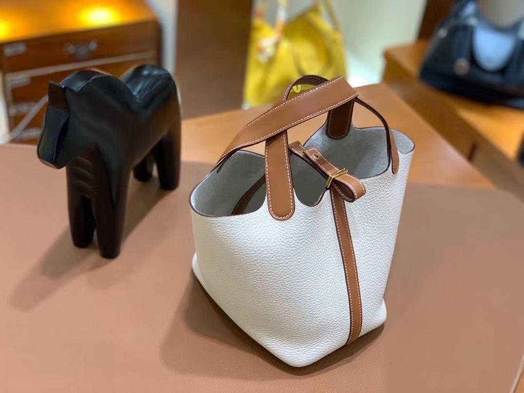 Hermès(爱马仕)Picotin 菜篮子 swift 拼 TC 金棕色 拼 奶昔白 18cm 金扣 现货