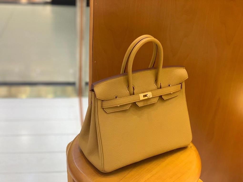 Hermès(爱马仕)Birkin 铂金包 Togo 芝麻色 金扣 25cm