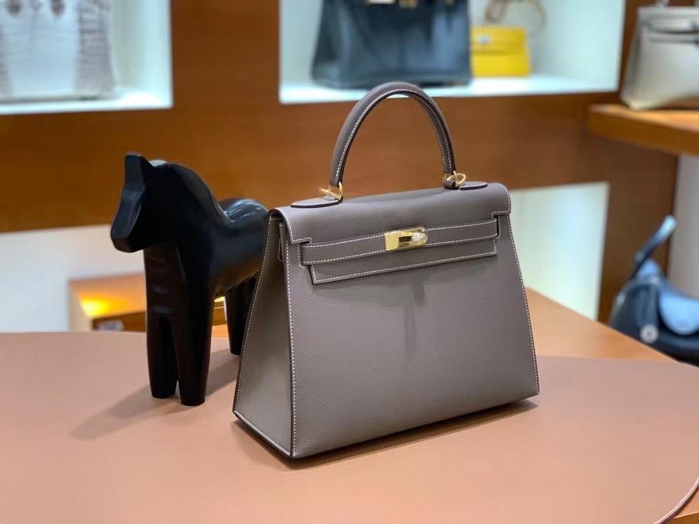 Hermès(爱马仕)Epsom 大象灰 Kelly 28 金扣 现货