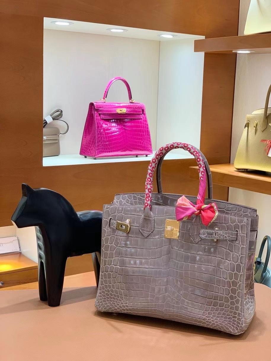 Hermès(爱马仕)Birkin 铂金包 亮面 尼罗鳄 斑鸠灰 金扣 30cm 现货