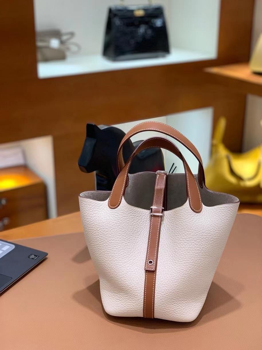 Hermès(爱马仕)Picotin 菜篮子 swift 拼 TC 金棕色 拼 奶昔白 18cm 银扣 现货