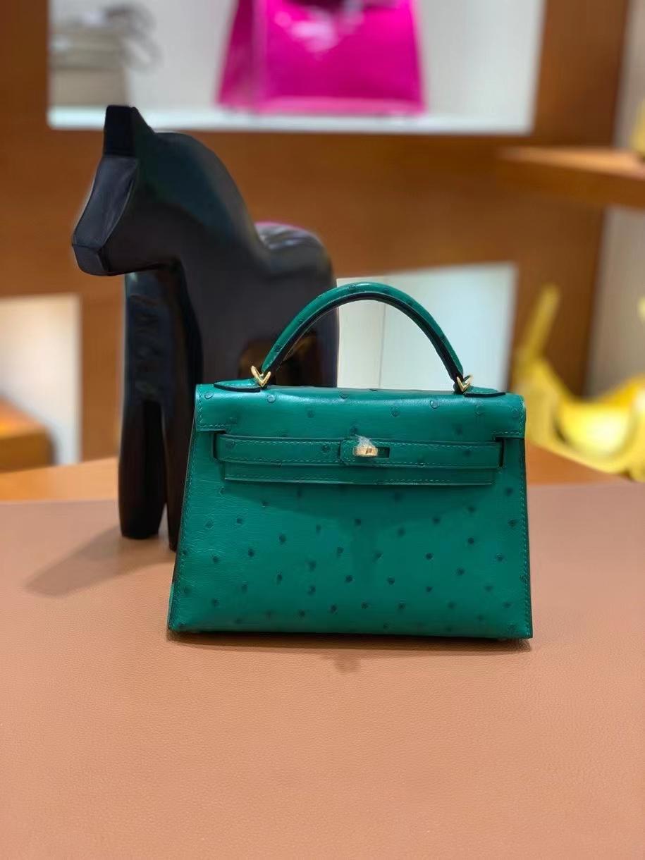 Hermès(爱马仕)鸵鸟 U4丝绒绿 minikelly 19cm 金扣 现货