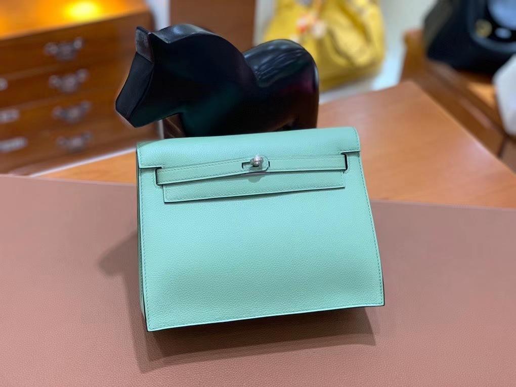 Hermès(爱马仕)Kelly danse evercolor 牛油果绿 22cm 银扣 现货