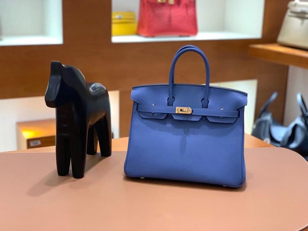 Hermès(爱马仕)Birkin 铂金包 Togo 玛瑙蓝 金扣 25cm