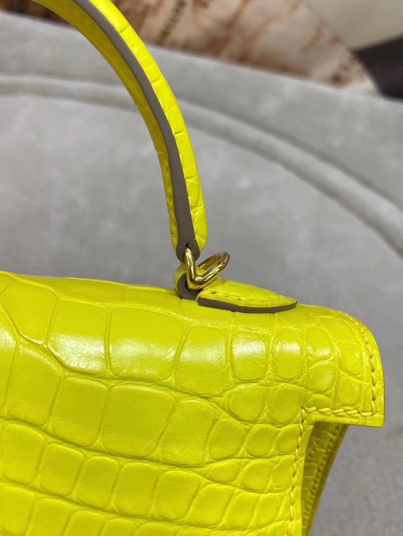 Hermès(爱马仕)美洲鳄 金盏花黄 minikelly 19cm 金扣 雾面 现货