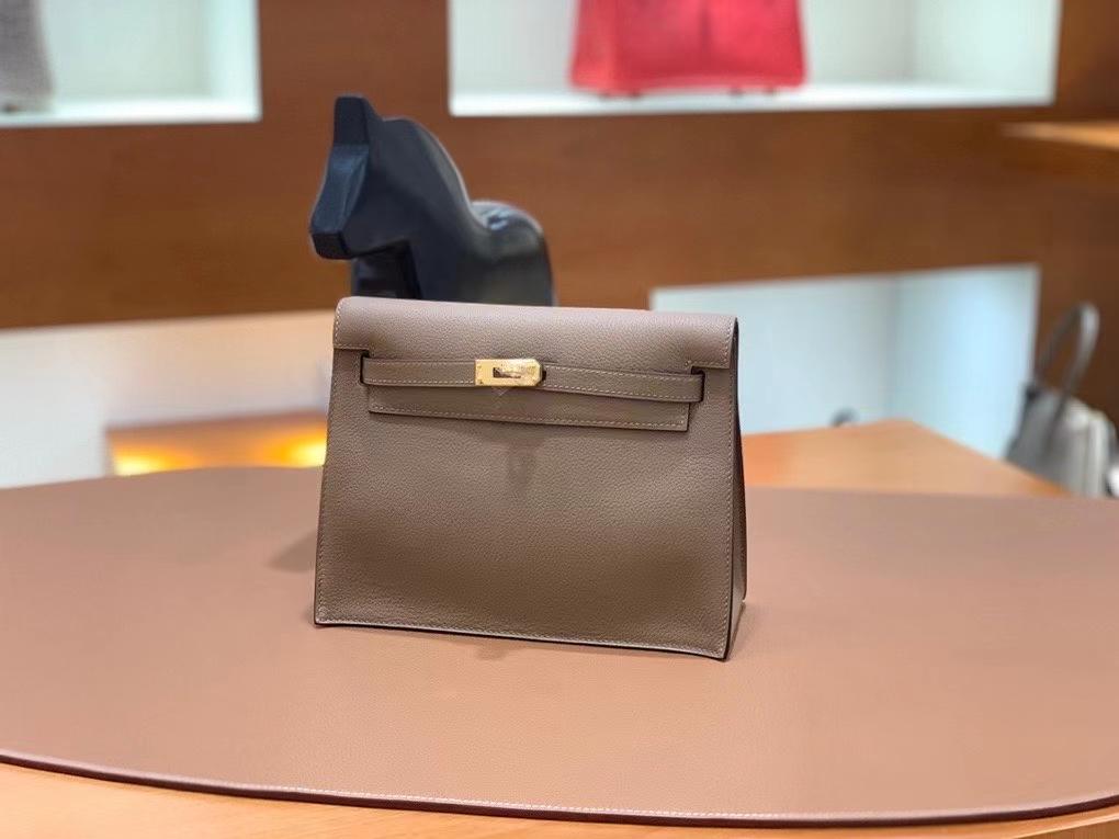 Hermès(爱马仕)Kelly danse evercolor 威玛犬米色 22cm 金扣 现货