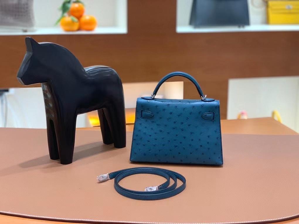 Hermès(爱马仕)mini Kelly 19cm 鸵鸟 鸭子蓝 银扣 定制