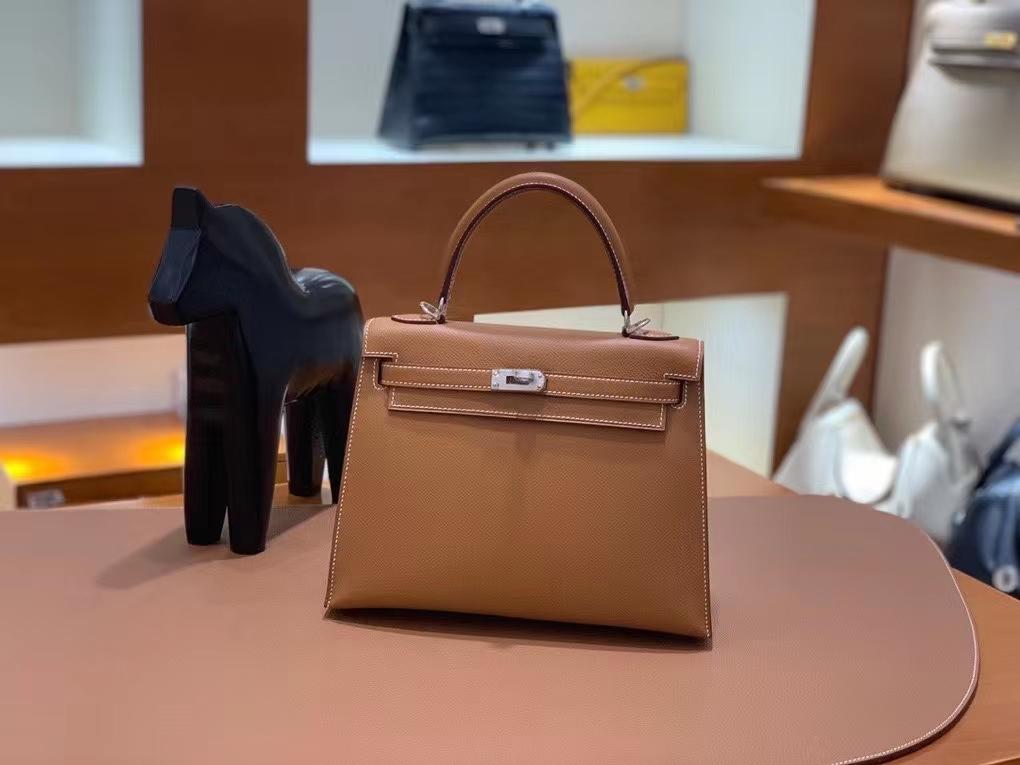 Hermès(爱马仕)Epsom 金棕色 Kelly 25 银扣 现货