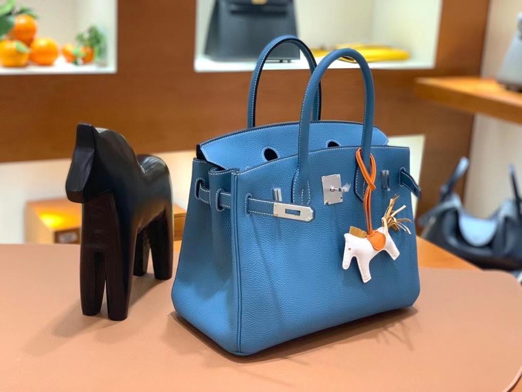 Hermès(爱马仕)Birkin 铂金包 Togo 牛仔蓝 银扣 30cm