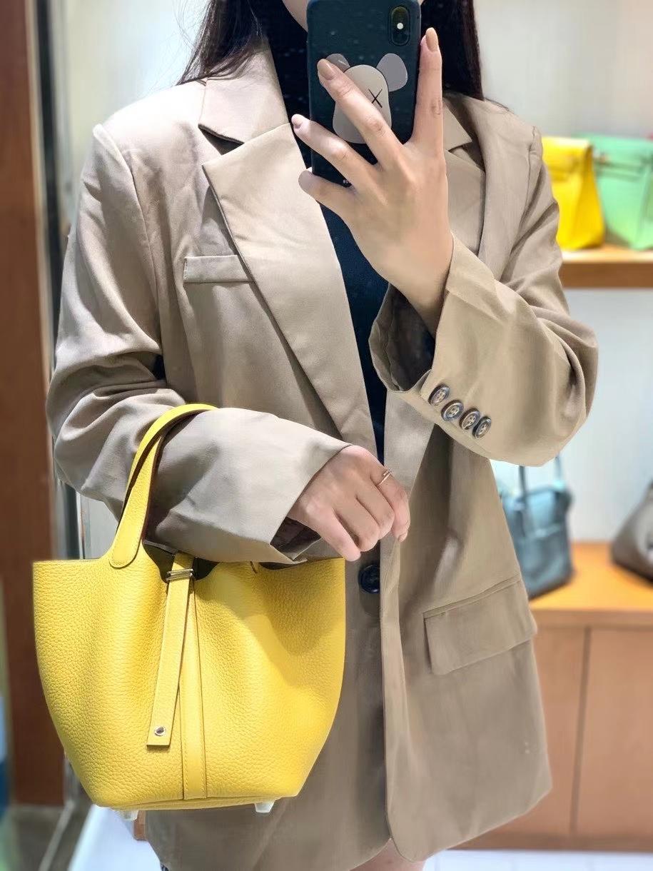 Hermès(爱马仕)Picotin 菜篮子 TC皮 琥珀黄 18cm 银扣
