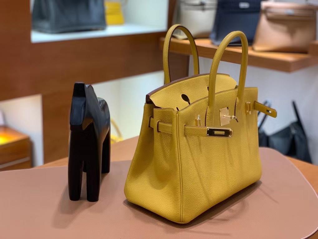 Hermès(爱马仕)Birkin 铂金包 Togo 琥珀黄 金扣 30cm