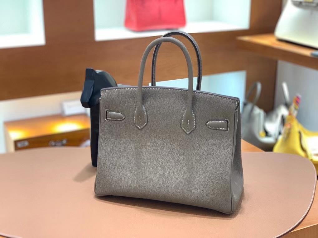 Hermès(爱马仕)Birkin 铂金包 Togo 大象灰 银扣 30cm