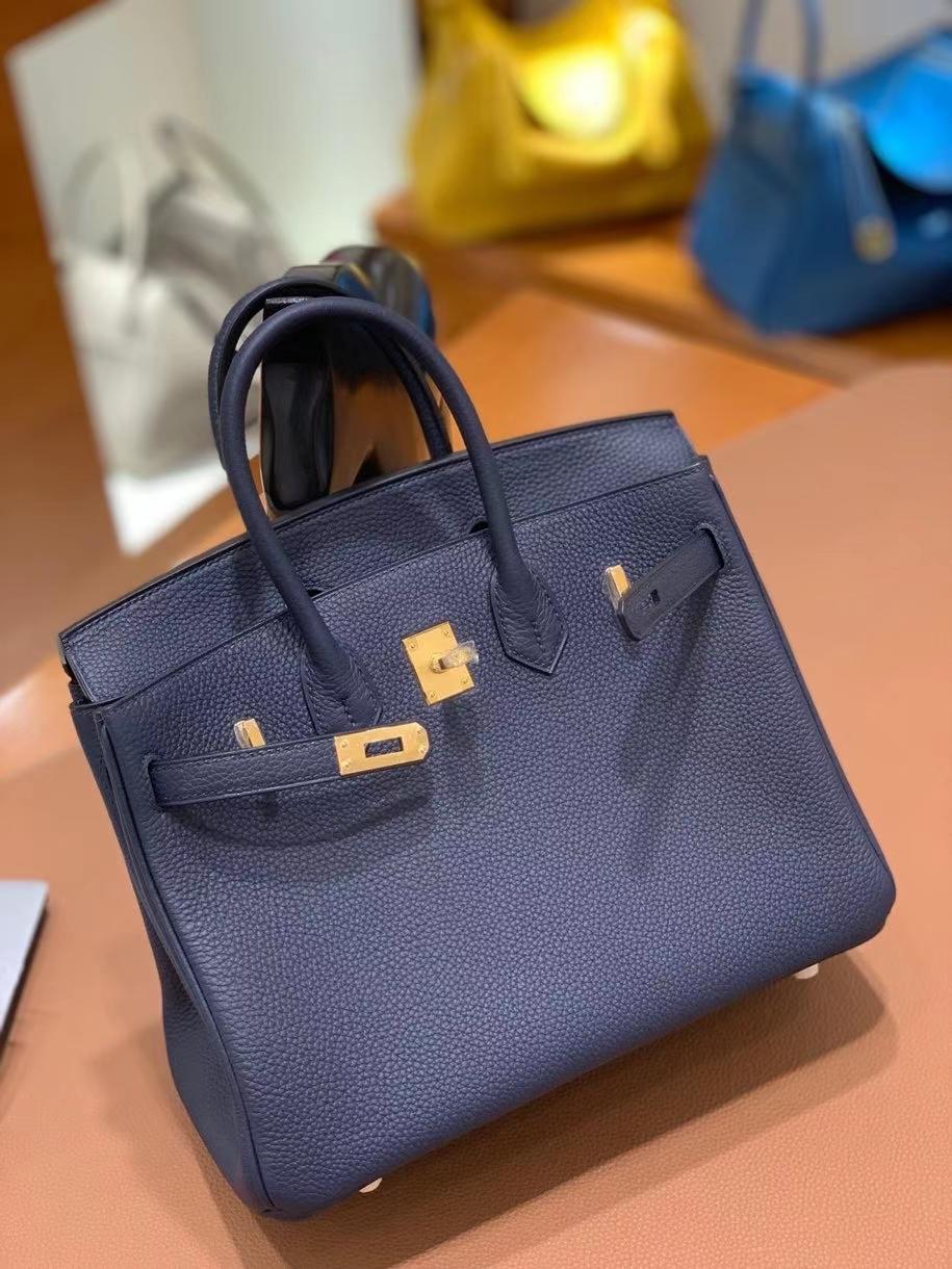 Hermès(爱马仕)Birkin 铂金包 Togo 2Z午夜蓝 金扣 25cm