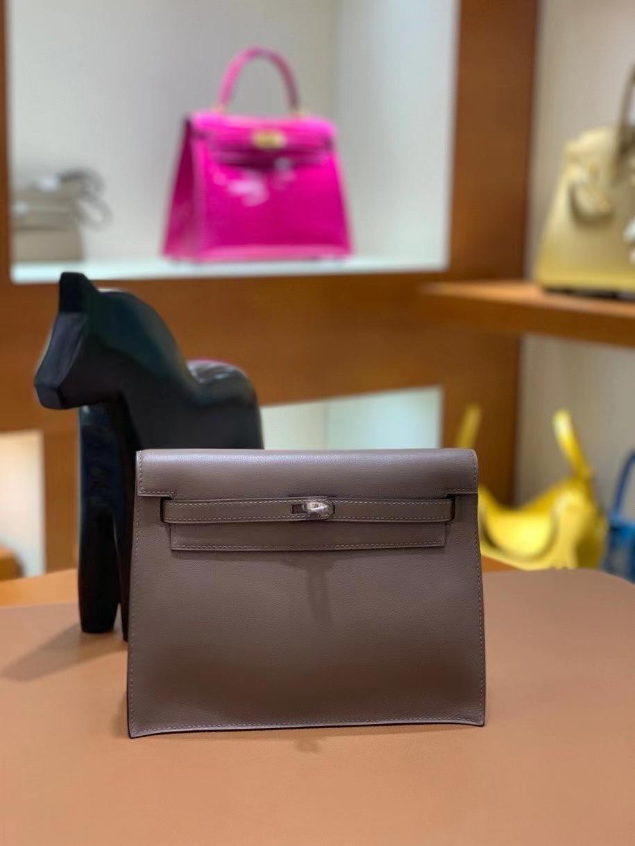 Hermès(爱马仕)Kelly Danse swift 8F锡器灰 22cm 银扣 现货