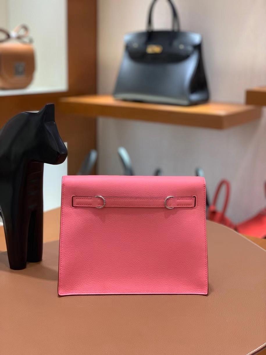 Hermès(爱马仕)Kelly danse evercolor K4夏日粉 22cm 银扣 现货