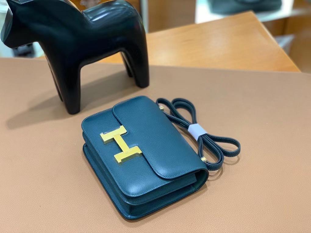 Hermès(爱马仕)Constance 空姐包 epsom 松柏绿 19cm 金扣 现货