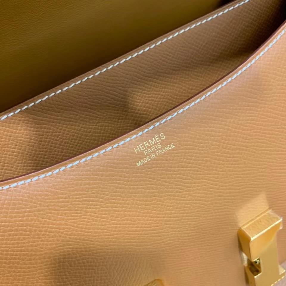 Hermès(爱马仕)Constance 空姐包 epsom 金棕色 金扣 24cm 现货