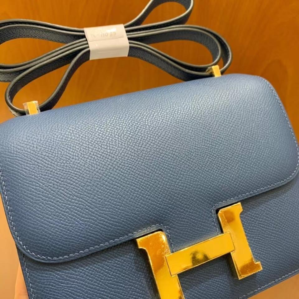 Hermès(爱马仕)Constance 空姐包 epsom 玛瑙蓝 19cm 金扣 现货