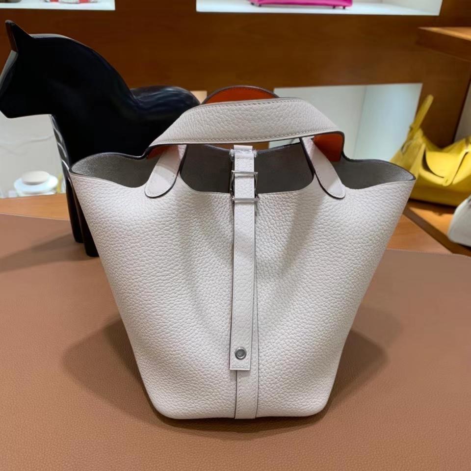 Hermès(爱马仕)Picotin 菜篮子 TC皮 奶油白 拼 橙色 18cm 银扣