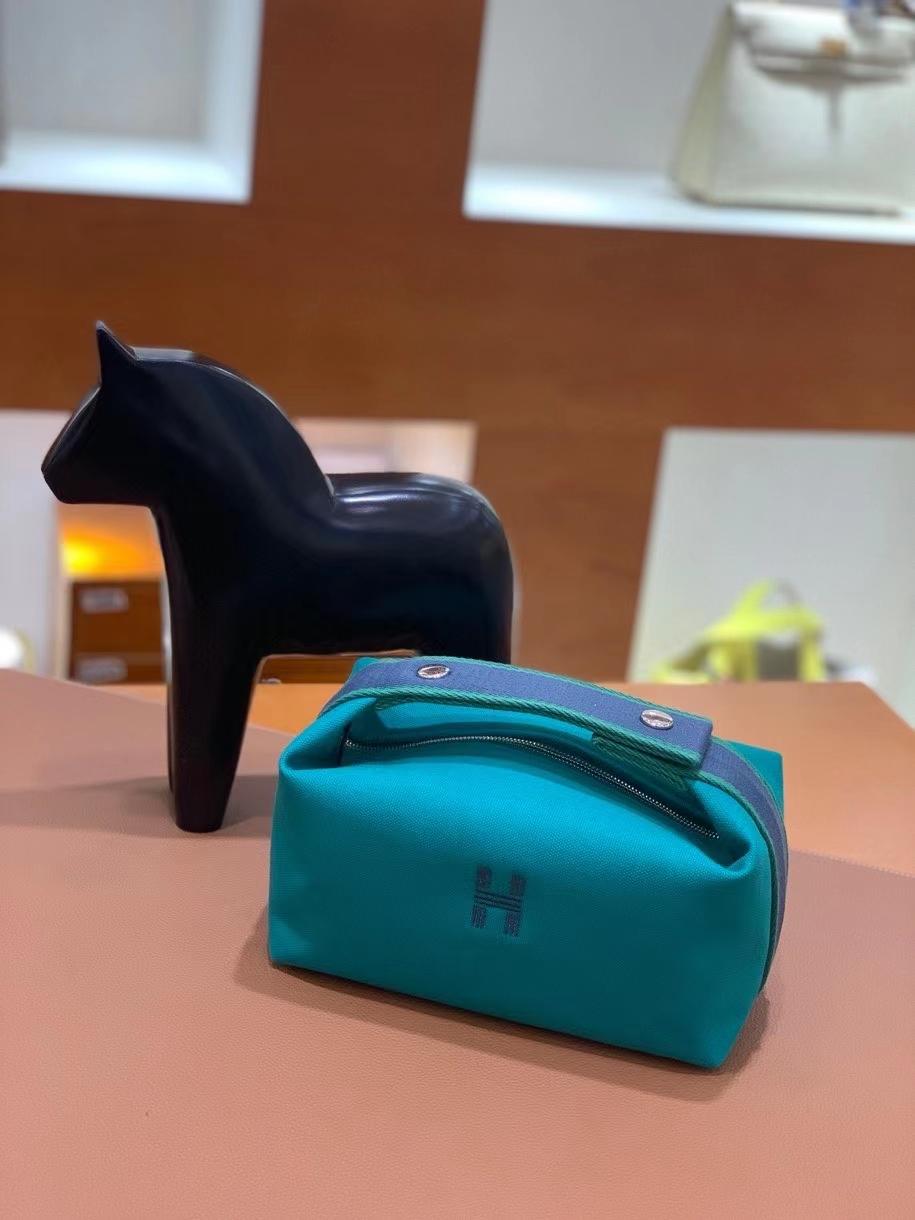 Hermès(爱马仕)饭盒包 孔雀绿 21cm 银扣