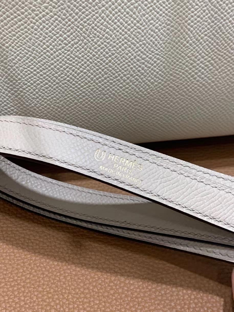 Hermès(爱马仕)Kelly 凯莉包 Epsom 奶昔白拼斑鸠灰 金扣 25cm
