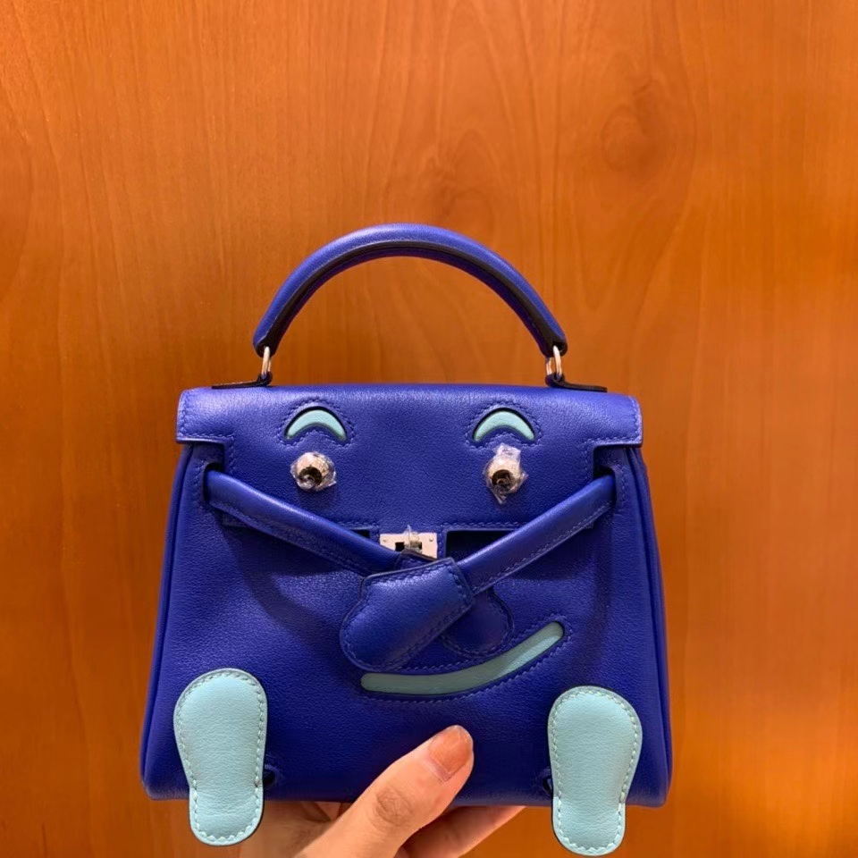 Hermès(爱马仕)Kelly doll swift 电光蓝 16cm 银扣 现货