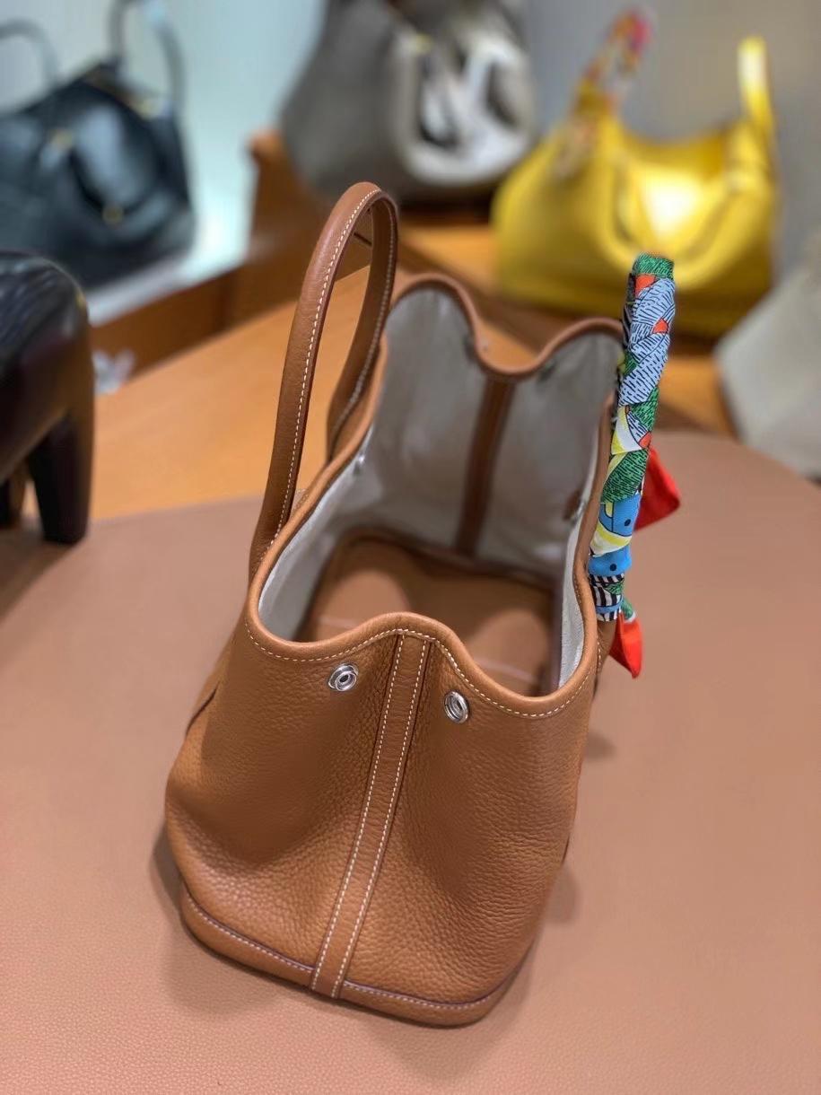 Hermès(爱马仕) Garden Party 花园包 negonda 金棕色 30cm 银扣