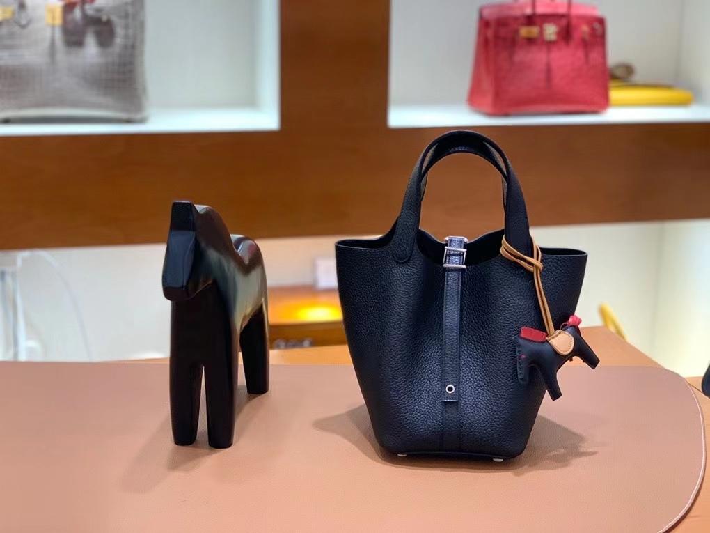 Hermès(爱马仕)Picotin 菜篮子 TC皮 黑色 18cm 银扣