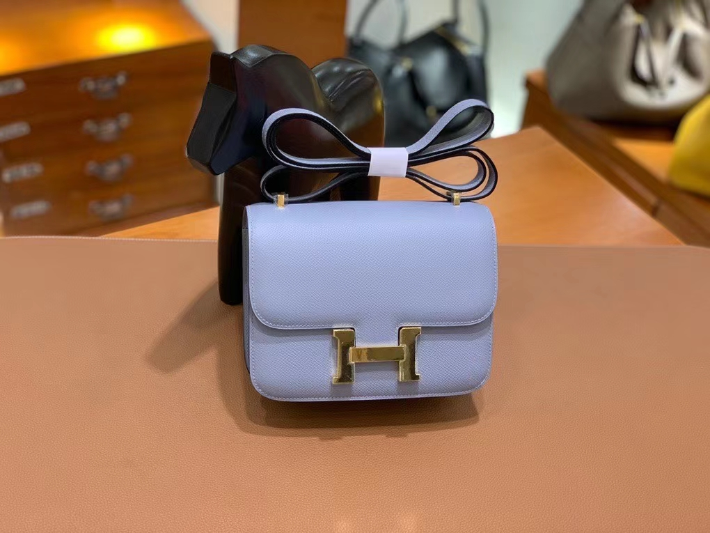 Hermès(爱马仕)Constance 空姐包 epsom 亚麻蓝 19cm 金扣 现货