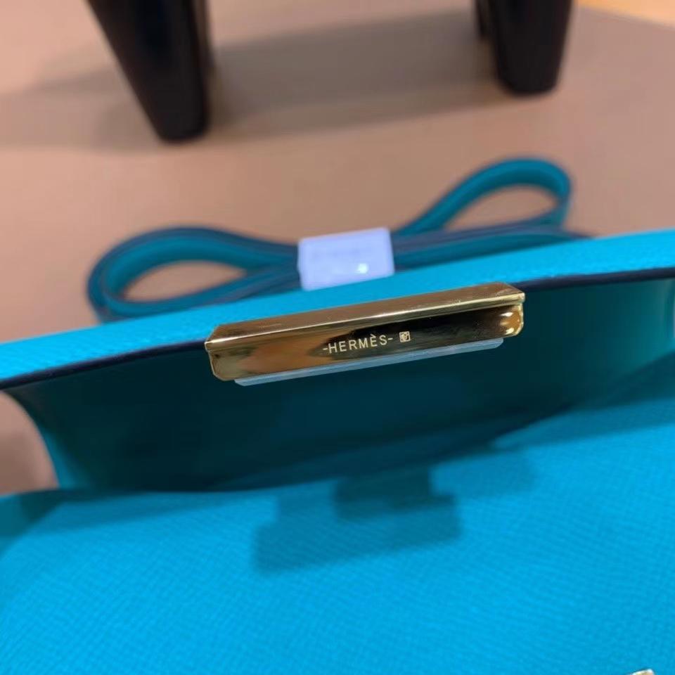 Hermès(爱马仕)Constance 空姐包 epsom 维罗纳绿 19cm 金扣 现货